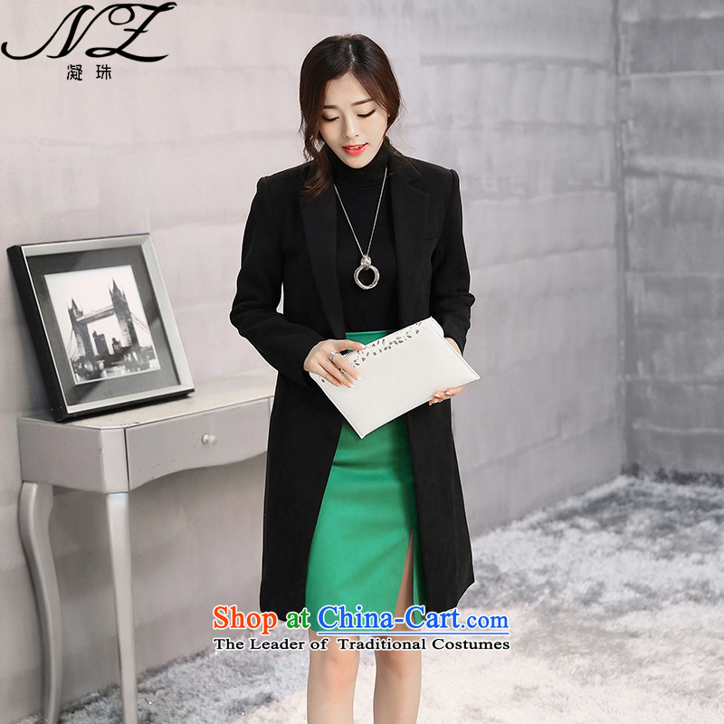 Fuser-ju 2015 autumn and winter new larger women detained a grain of thick-suit coats female jacket gross? In Long Folder cotton a wool coat black plus cotton燤