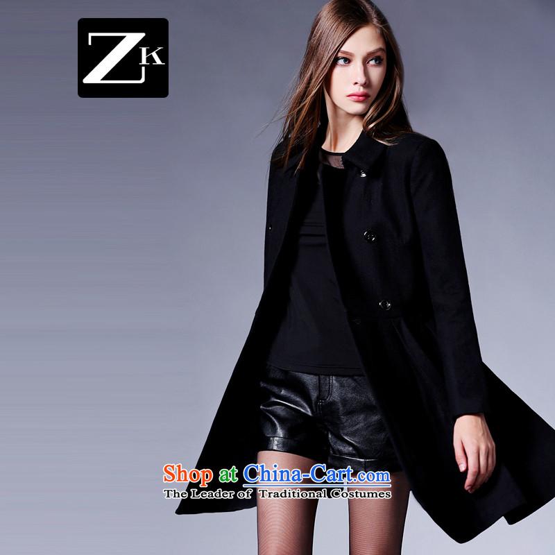 Zk Western women�15 autumn and winter new small-wind jacket girl in gross? long coats gross?   a wool coat Black燲L