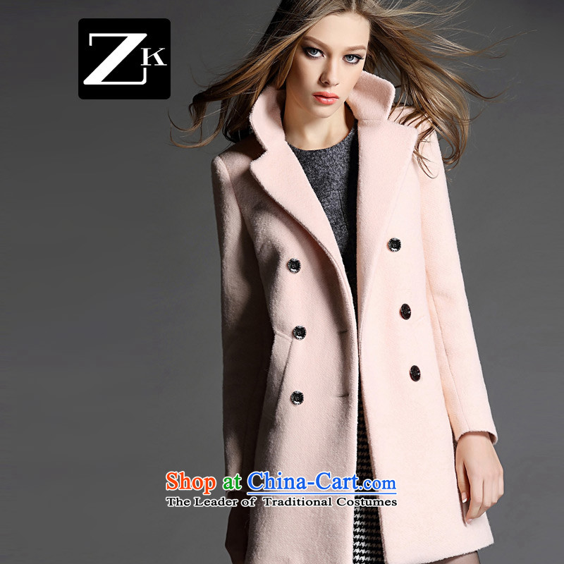 Zk Western women 2015 Fall_Winter Collections new suit for girls in gross? jacket long hair? coats of Sau San a wool coat all pink S