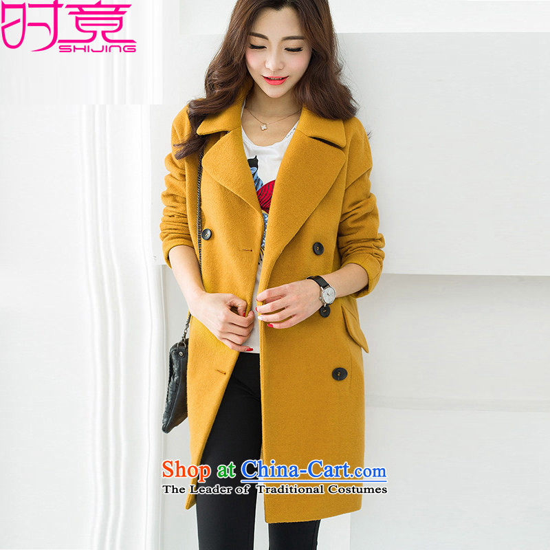 �15 Autumn and Winter, new leisure Straight female double-collar workers in long wool coat W8948 picture color?燤