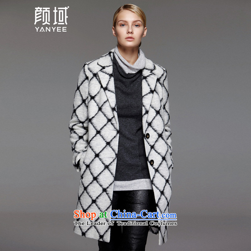 Mr NGAN domain 2015 autumn and winter black and white checkered new larger gross girls jacket? long straight lapel woolen coat 04W4685 checkered M_38