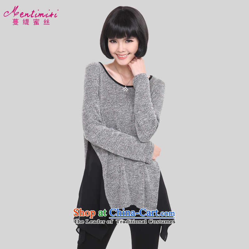 Overgrown Tomb economy honey silk spring 2015 new to increase women's code in mm long, thick Korean stitching loose cotton long-sleeved T-shirt聽large gray code 1319 XL around 922.747 125