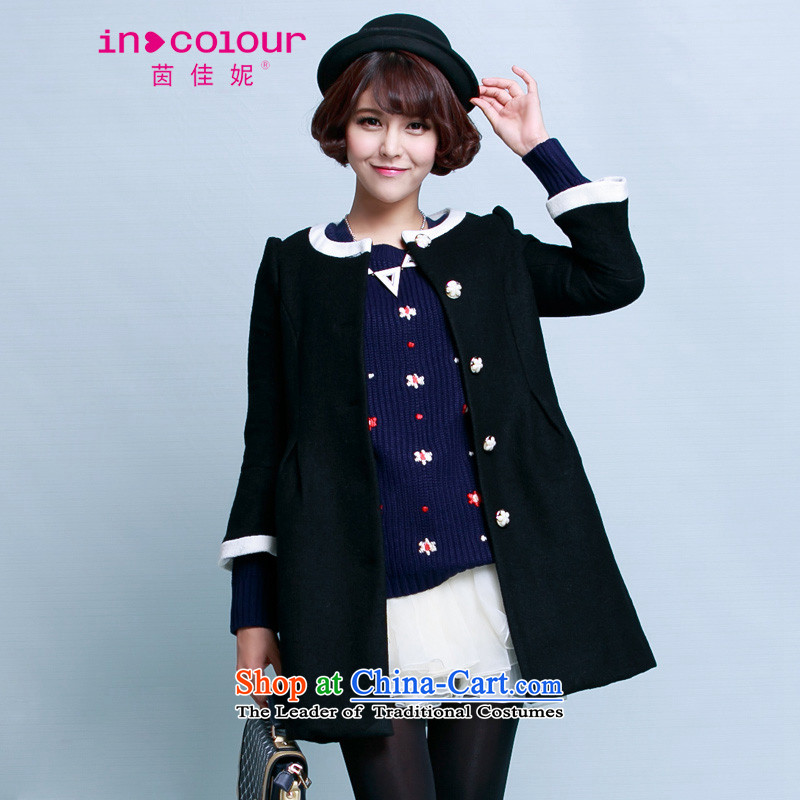 Athena Chu Jia Ni autumn and winter new Korean sweet white round-neck collar single row 5 points in long-sleeved jacket 5144-1421252 gross? black燬