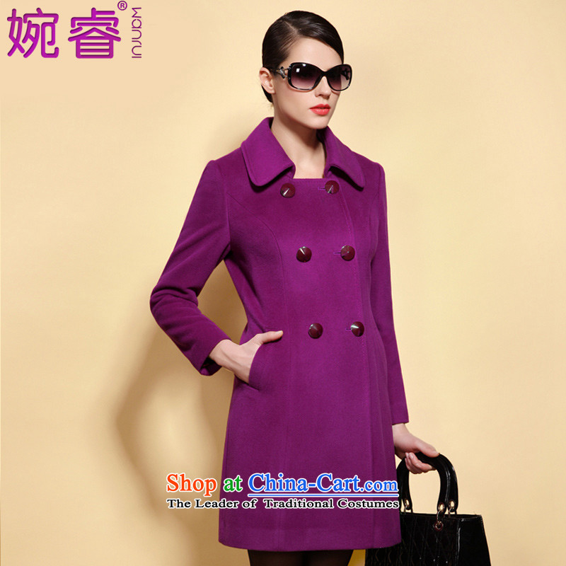 Yuen-core women 2015 winter clothing in large new long Sau San video thin double-wool overcoats female purple? XL