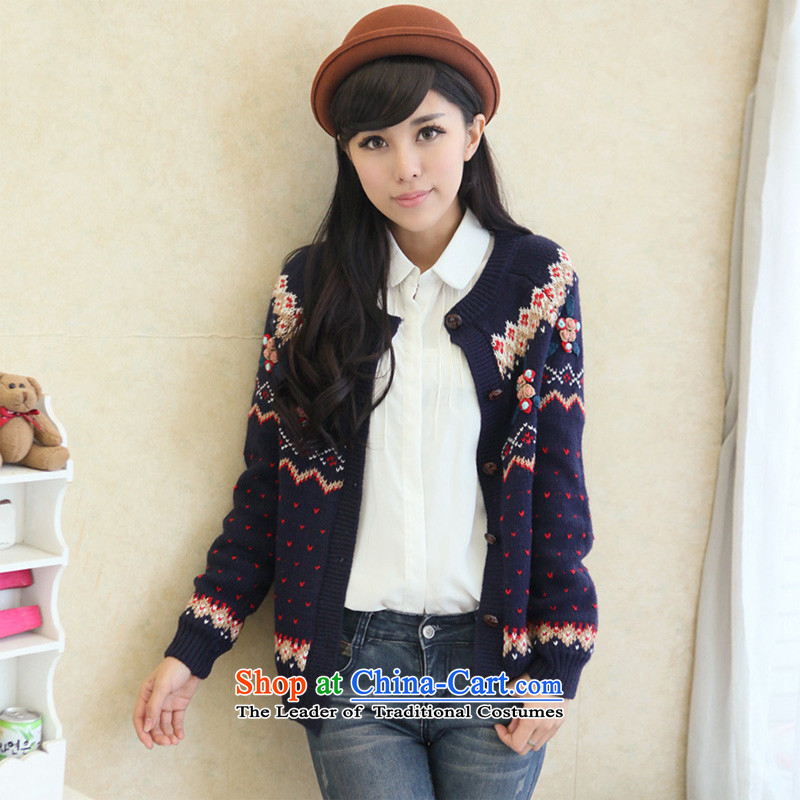 2015 Autumn and winter, large-sum female waveâ thick sister won 200 catties knitwear cardigan thick mm sweater jacket to intensify the blue 4XL( 115-125) chest