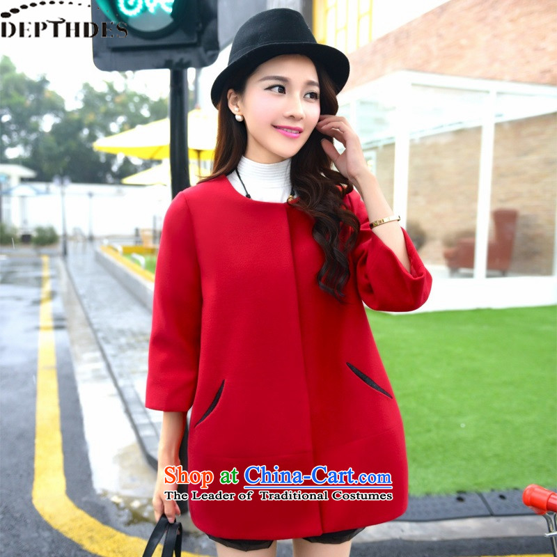Install the latest autumn and winter DEPTHDES, Korean large stylish elegance Sau San 9 Cuff Connie sub-thick warm jacket, in long coats female rocketed to gross?XL