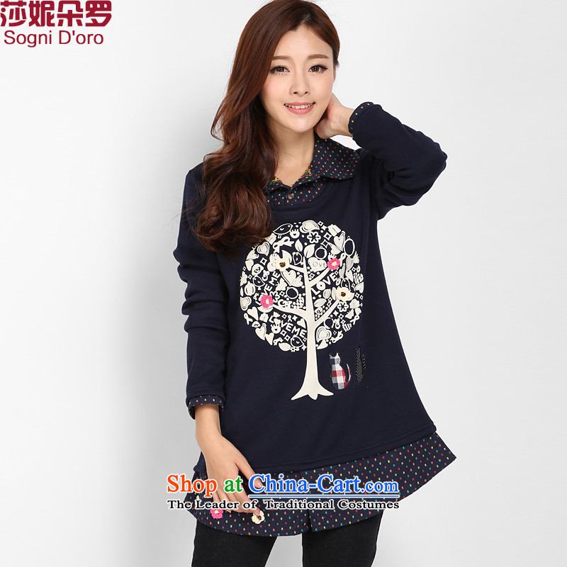 Luo Shani flower code women Winter Sweater, forming the basis of the lint-free thick thick, Hin thin, intensify to the t-shirt female 3207 dark blue 2XL