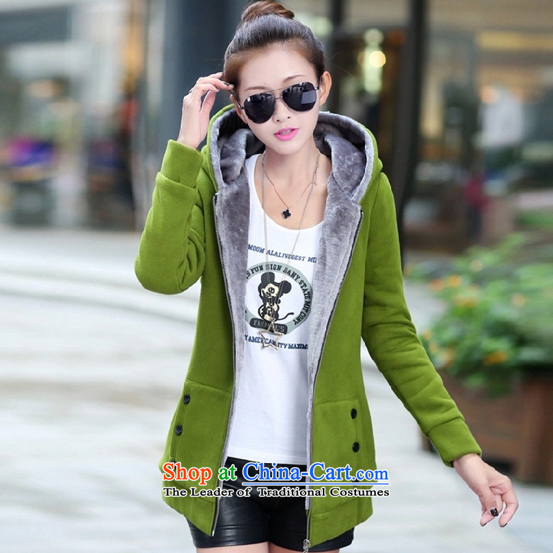 You New Kai Princess female Korean edition in lint-free long large sweater jacket female autumn and winter cardigan F3010 thick green XXL