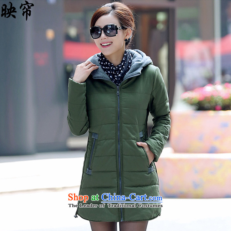 Image of the autumn and winter 2015 curtain new women XL Graphics thin thick cotton coat y5189_�L Army Green