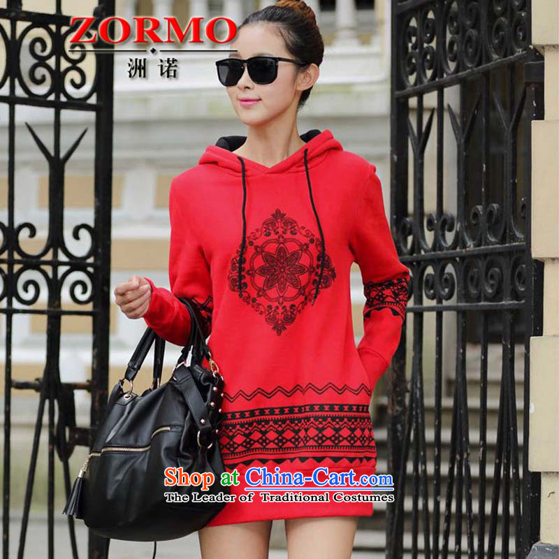 The Korean version of the female ZORMO plus lint-free nation in the stamp duty is thick long sweater, autumn and winter fat mm to intensify the Code Red JacketXL 135-150 catty