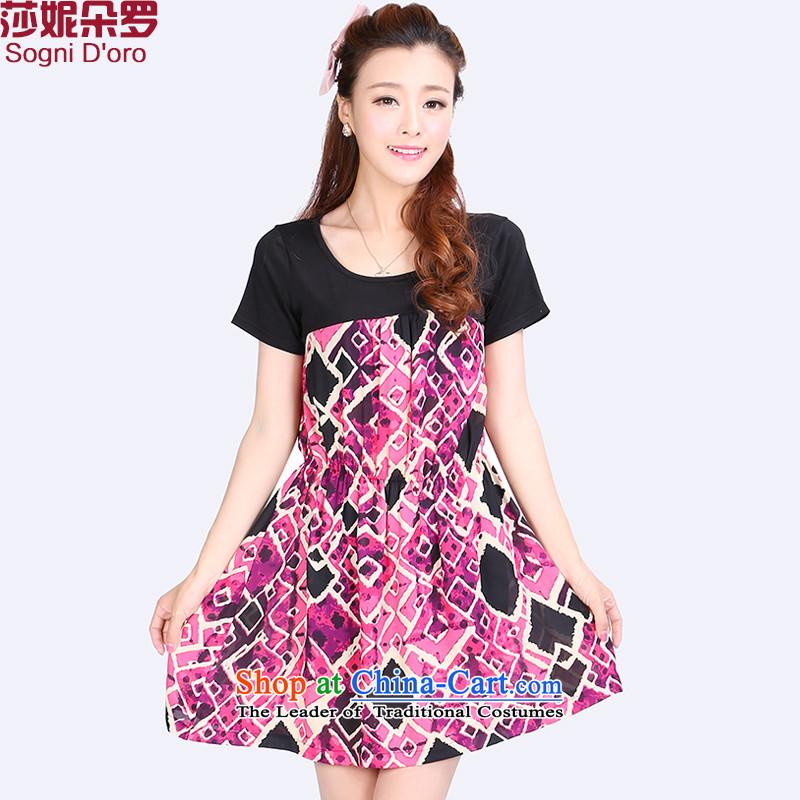 Luo Shani flower code women thick mm Summer 2015 Sau San Video Korean thin, The chiffon skirt suits6XL 6760