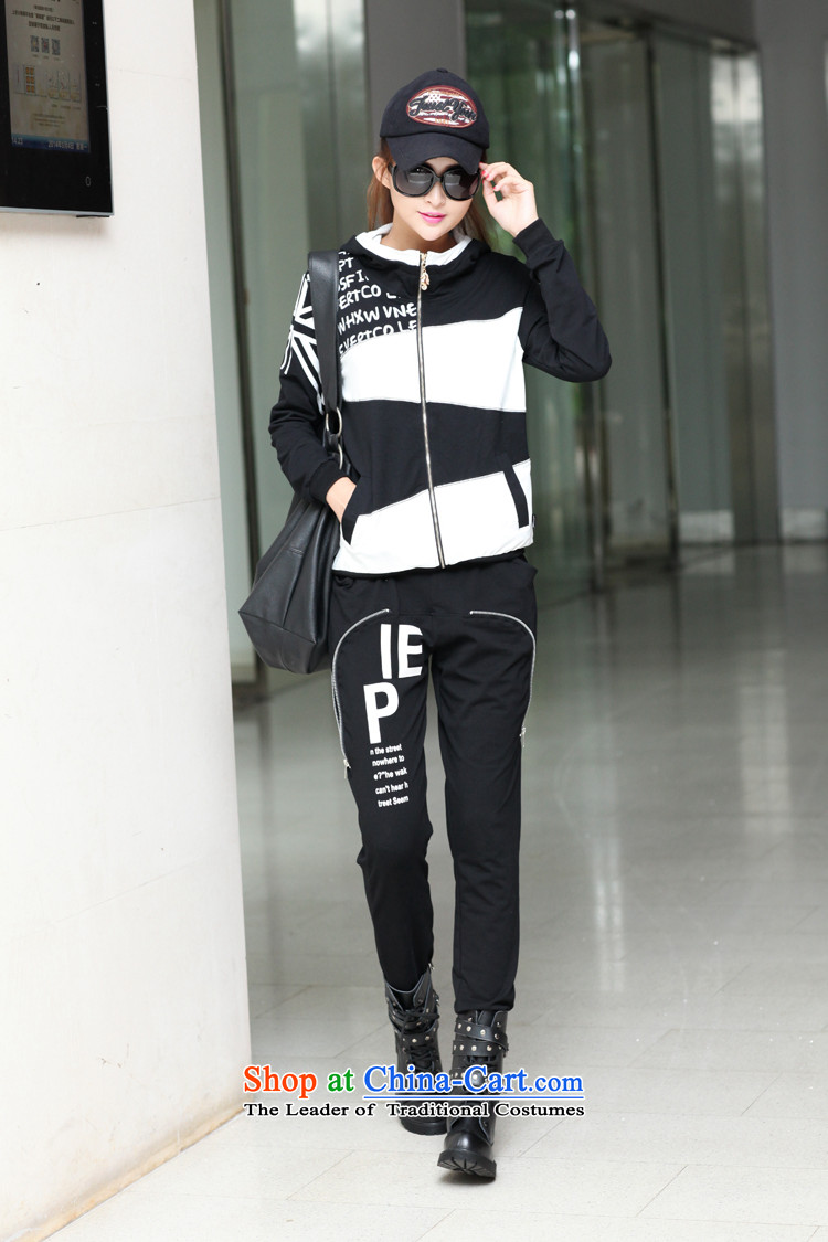 Love is the2015 Korean women's stylish highlights sweater kit for larger long-sleeved _0806 leisure wears blackXXXL