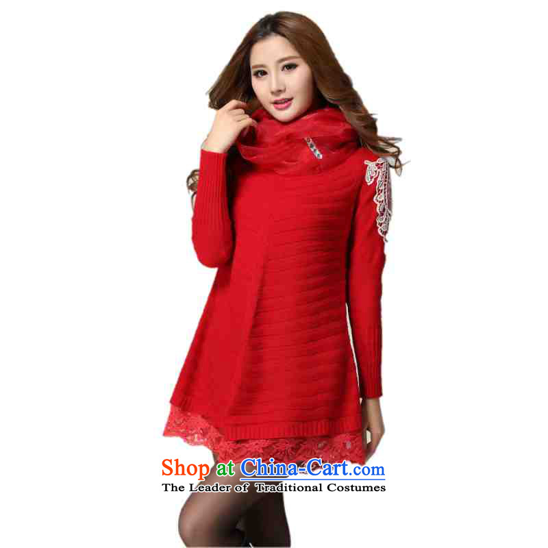 Payment on delivery to female sweater skirt spring winter clothing sweet lace decals bat long-sleeved A swing video thin skirt wear skirts thick mm knitted dress red5XLapproximately 170-200 catty