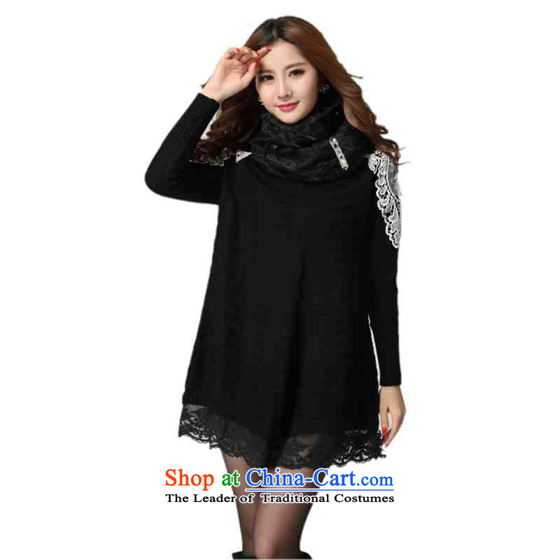 C.o.d. plus obesity mm sweet sweater skirt the new 2015 Fall_Winter Collections lace long-sleeved knitted dresses loose belt thin skirt large graphics black 4XL approximately 150-175 catty