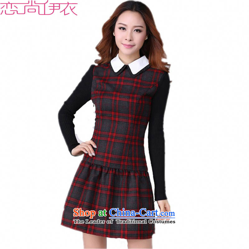 2015 The women's code hypertrophy dresses Korean OL commuter temperament lapel video thin long-sleeved short skirt wear skirts latticed Sau San lady in red and gray skirt of thick 2XL paras. 125-140 catty