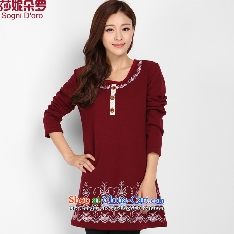Shani flower, thick woman thick winter clothing plus lint-free sister thick T-shirt and women to women's code 200 catties video thin Korean female 3,228 Sweater Red聽4XL