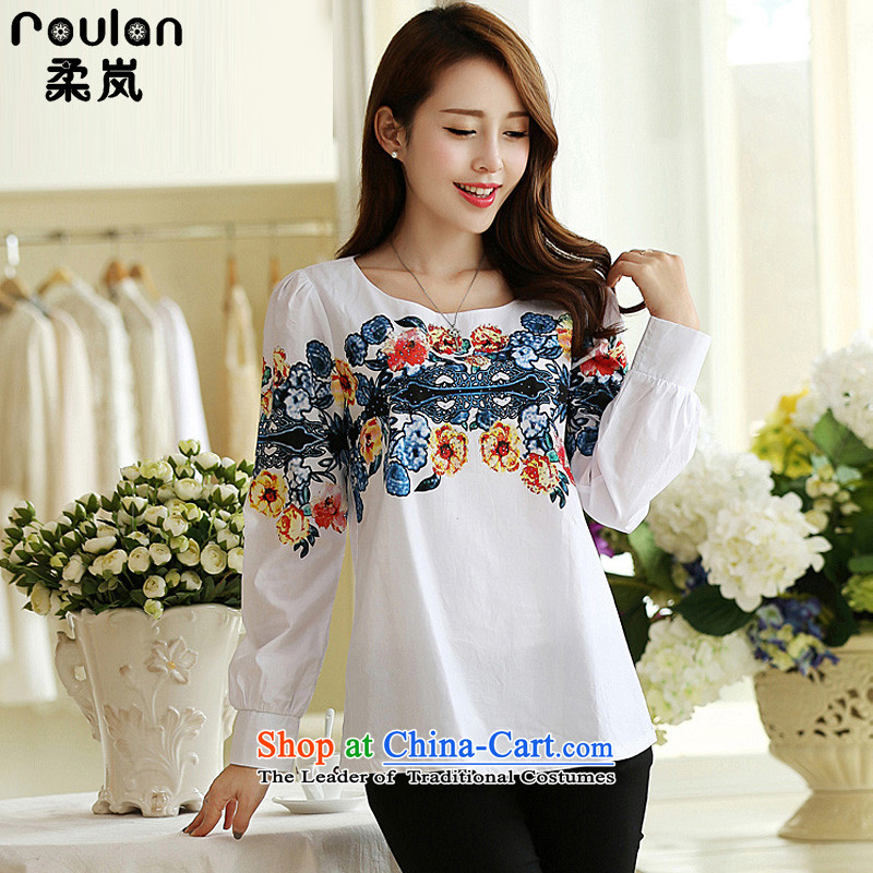 In the autumn of 2015, Sophie female new to xl thick MM female pure cotton long-sleeved T-shirt Korean female white 5XL 1694 T-Shirt