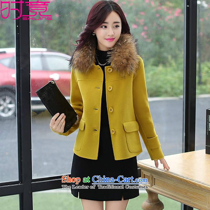 Even the new 2015 winter clothing Korean short of Ms. Sau San single row detained small incense culture quality gross W8986 coats yellow-so gross for M