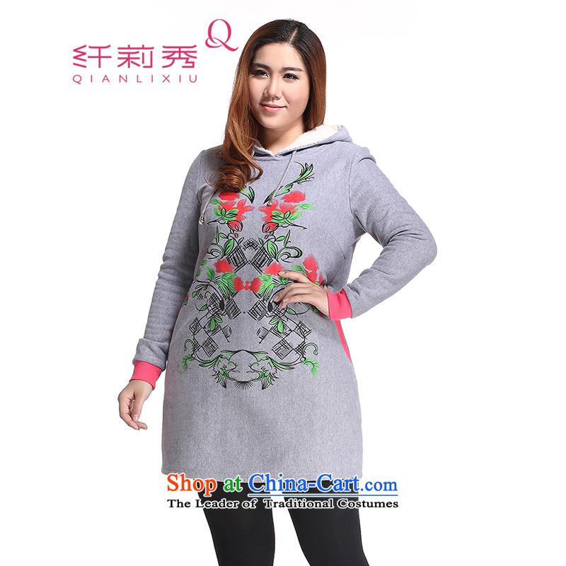The former Yugoslavia Li Sau 2014 autumn and winter new larger female Korean fashion emulation Lamb Wool plus a lint-free leisure sweater in long skirt Q6331 GrayL
