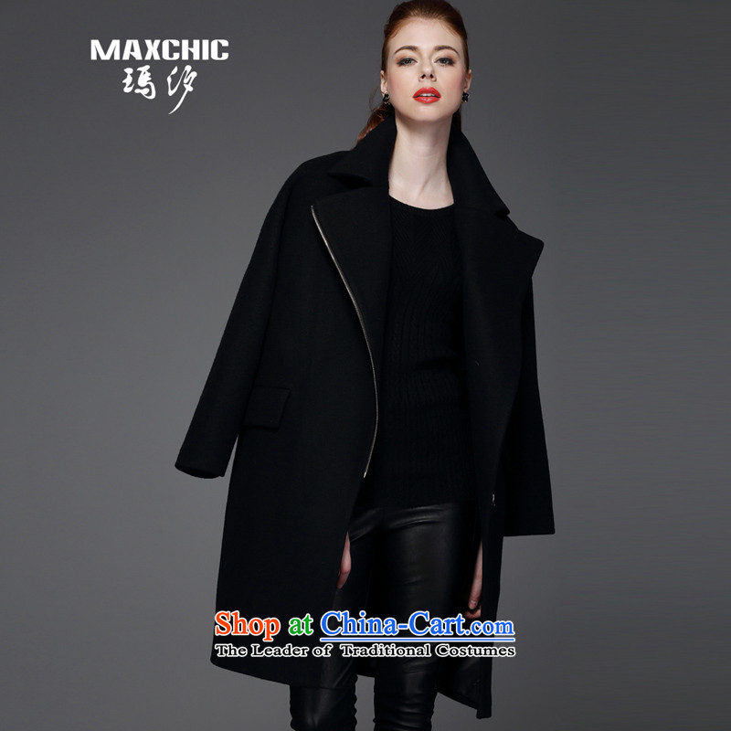 Marguerite Hsichih maxchic 2015 Autumn and Winter Female Plug-rotator cuff loose ends in-long hair? 13652 coats, parliamentary services black S