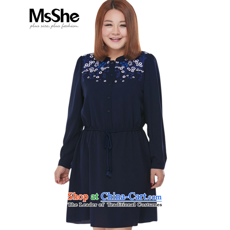 Msshe xl women 2015 new fall inside the reconstructed embroidery l dresses blue�L 2471