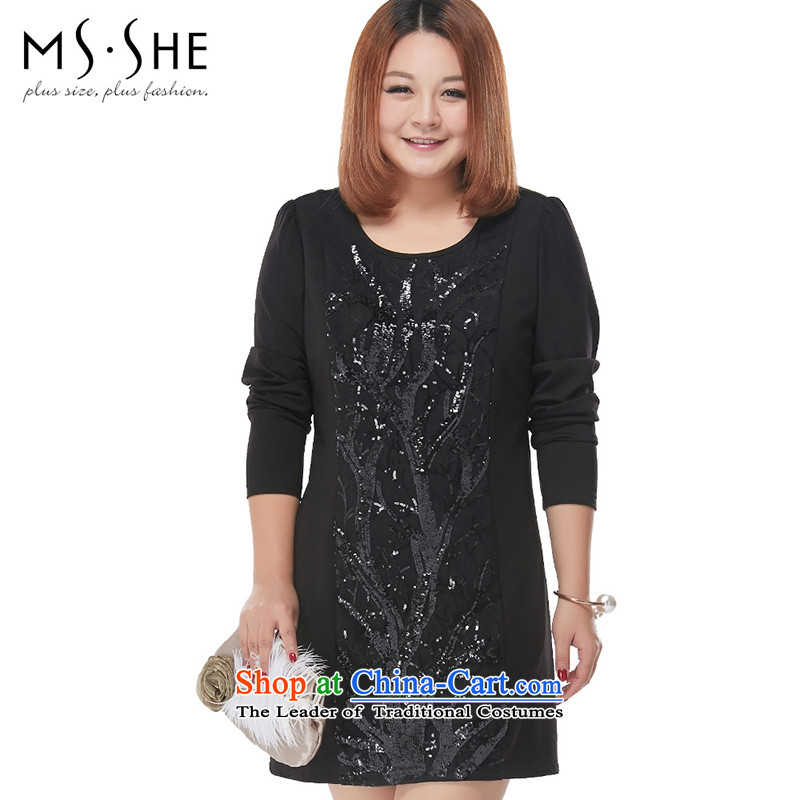 Msshe xl women 2015 Autumn New Light-chip Sau San Fat mm temperament skirt the pre-sale of 2,277 Black 6XL- pre-sale to arrive at 12.10