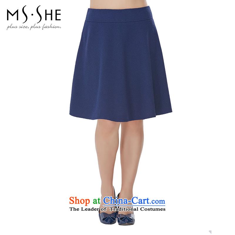 Msshe xl women 2015 autumn and winter load new mm thick Sleek and versatile graphics thin body skirt 2507 Sau San blue聽T1
