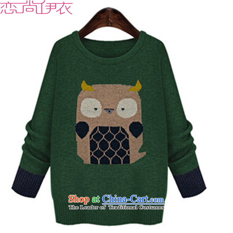 C.o.d. Sweater Western wind spring XL Knitted Shirt, long graphics thin Sau San OL owl stamp forming the mei knitting clothes thick green�L燼bout 170-185 Yi Jin