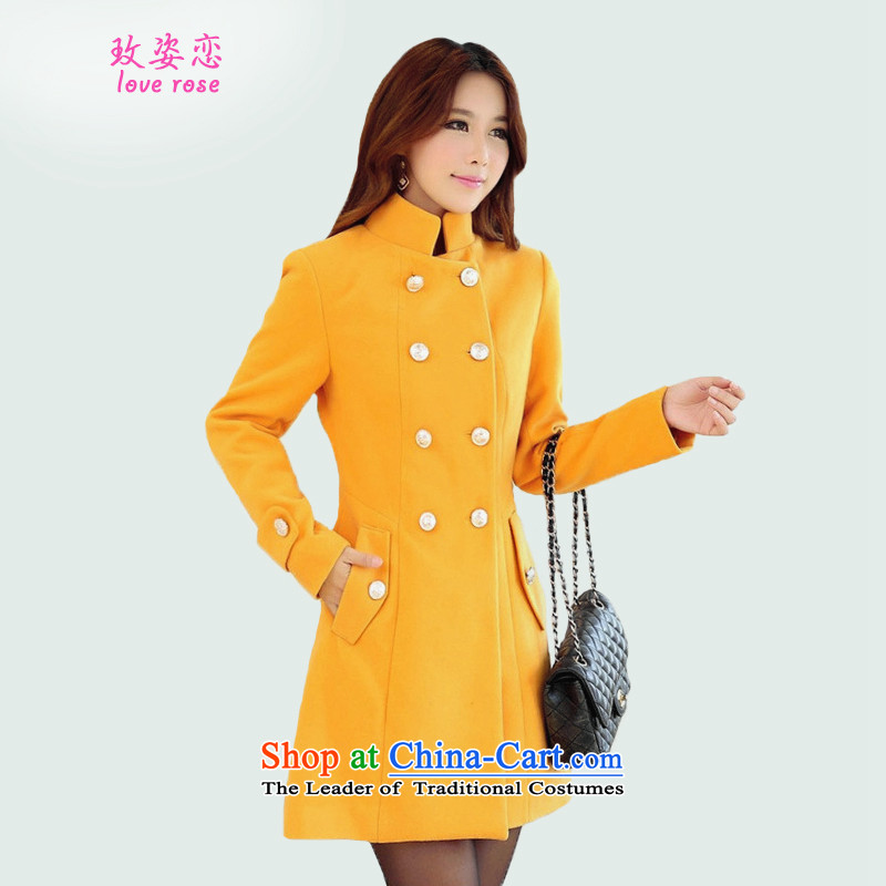 In 2014 Winter Land standing on a new Korean female jacket? gross edition fall_winter collections in the jacket long hair?_ cotton waffle warm lapel larger gross coats female yellow燣?
