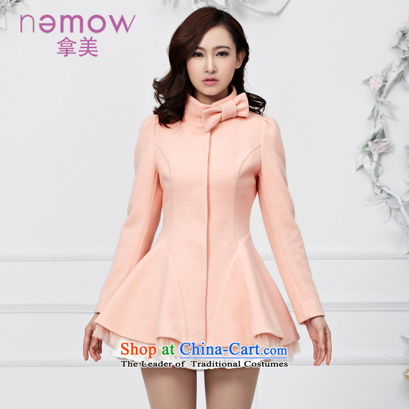 Take the us dream of the 2014 autumn and winter south new A Swing Bow Tie gross?   lace coats stitching EA4G188 pale pink coat 17 M