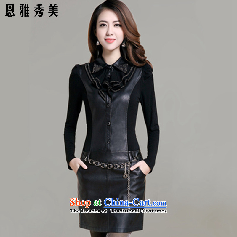 Eun-Ya Xiu 2015 autumn and winter new women's thick MM to xl in Sau San pu coated long stitching package and skirt 68_ black聽XL recommendations for winter version catty