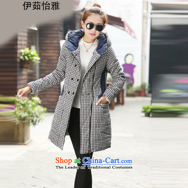 El-ju Yee Nga聽2015 winter new stylish Korean version of large numbers of ladies to intensify the thick latticed thick cotton coat YJ99085 MM grid聽XXXXL navy blue