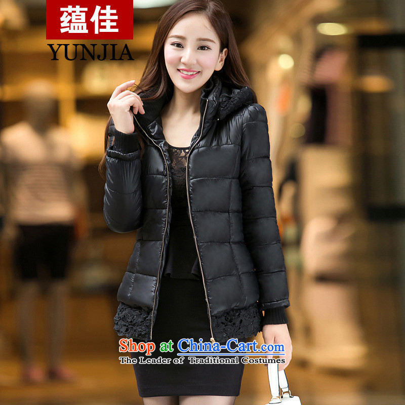 To better C.O.D. 2014 autumn and winter new products lace thick warm female Korean version of long-sleeved to increase women who are video decode thin thick feather cotton coat black�L code suitable for 220 catties