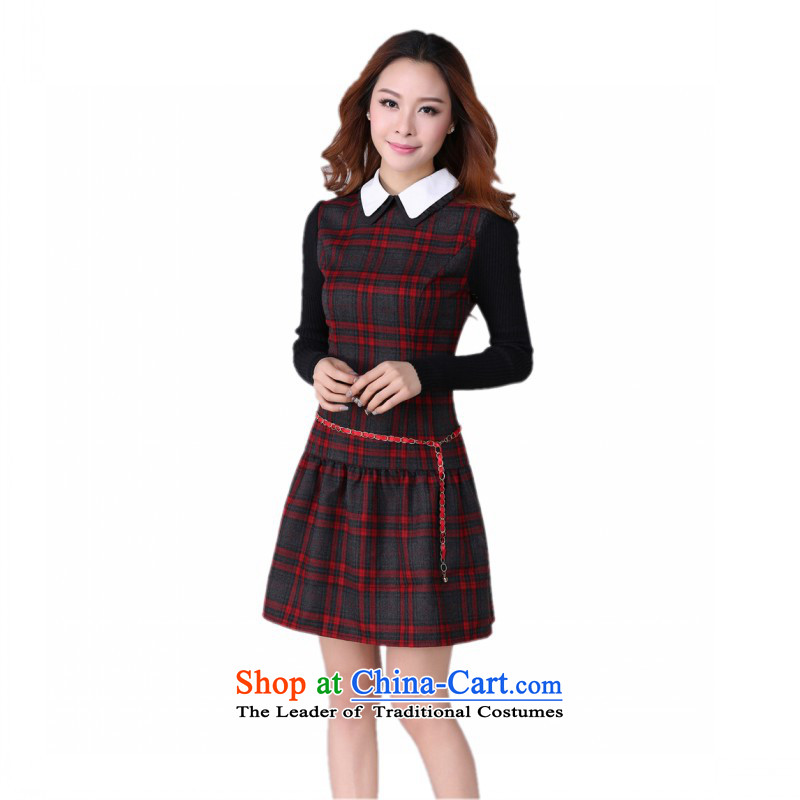 C.o.d. Package Mail thick Mei large stylish classic skirt in Red and Gray Tartan Korean lapel OL skirt the lint-free version thick solid long-sleeved thin red and gray colors of skirtaround 185-200 thick 6XL catty