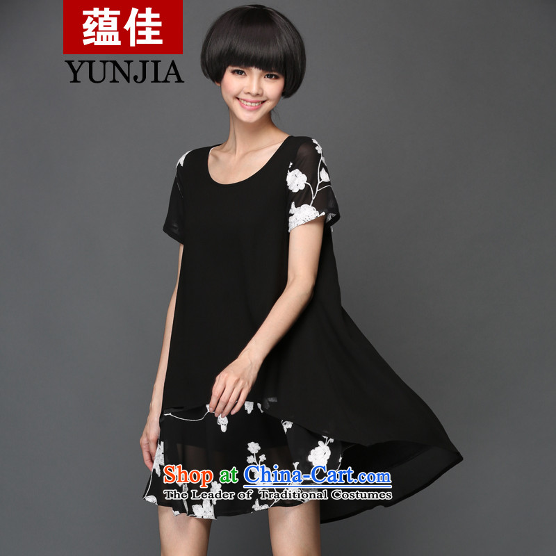 To better to increase the number of women with king size code 200 catties Korean loose video thin short-sleeved embroidered double chiffon dresses picture聽for 140-155 2XL Black catties
