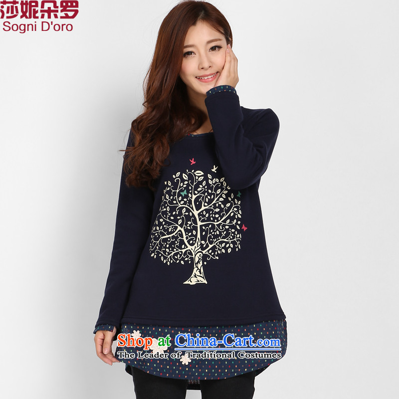 Shani Flower Lo 200 catties larger T-shirts thick sister Fall/Winter Collections Plus Fertilizer David Yi plus forming the thick clothes women lint-free 3229 sapphire blue 6XL plus lint-free warm - aging