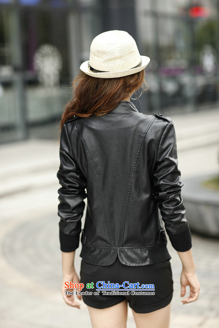 2015 Fall/Winter Collections fashion Korean xl thick mm long-sleeved blouses and video thin leather jacket Sau San PU leather jacket black (without extra cotton), prices, pictures XXXL brand platters! The elections are supplied in the national character of distribution, so action, buy now enjoy more preferential! As soon as possible.
