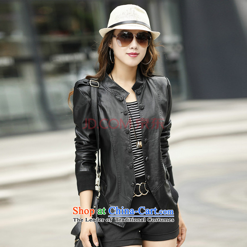 2015 Fall/Winter Collections fashion Korean xl thick mm long-sleeved blouses and video thin leather jacket Sau San PU leather jacket black (without extra cotton XXXL)