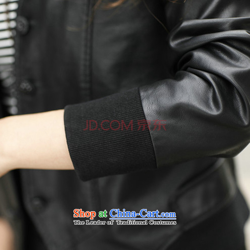 2015 Fall/Winter Collections fashion Korean xl thick mm long-sleeved blouses and video thin leather jacket Sau San PU leather jacket black (without extra cotton) 34.37 (BIAOSHANG XXXL, yet) , , , shopping on the Internet