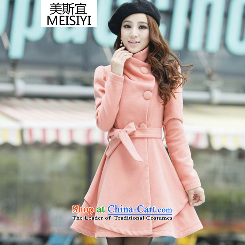 The 2014 autumn and winter coats won? the new version? jacket Women Ms. gross in long-coats of Sau San Connie _sent belts_ beauty 1272 pinkM