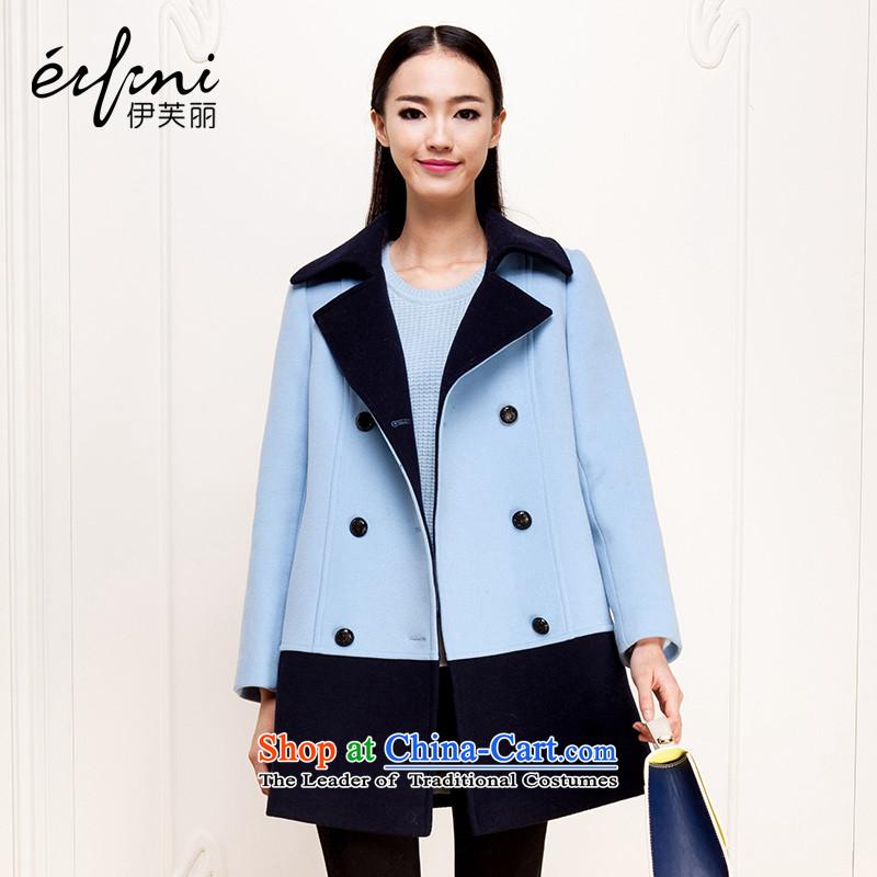 El Boothroyd2015 winter clothing new Korean reverse collar double-gross overcoats 6481227880? sky blueS