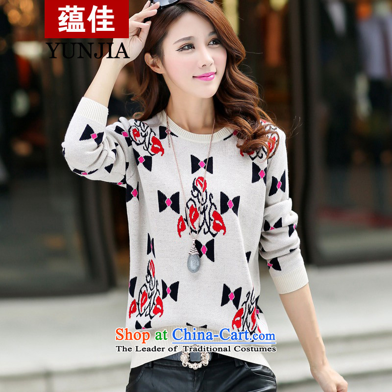 To betterfit the autumn and winter 2015 thick to increase women's code of a Bow Tie thin graphics loose stamp knitting garments, knitwear m, forming the long-sleeved yellow3XL code