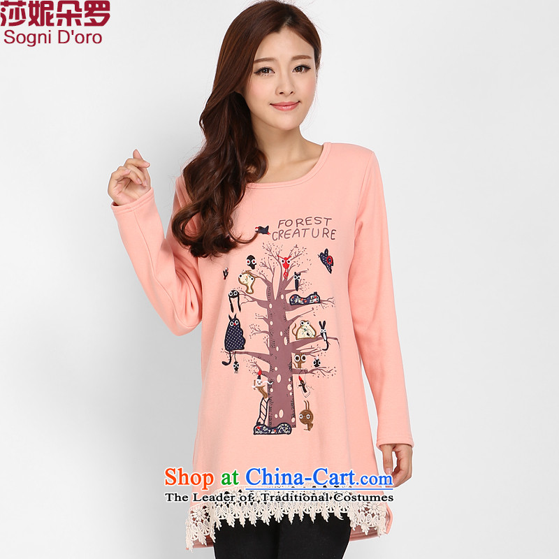 Shani flower of thick npc code T-shirts intensify the obesity sister winter clothing plus lint-free video thin thick clothes female bare pink 3XL 3 219