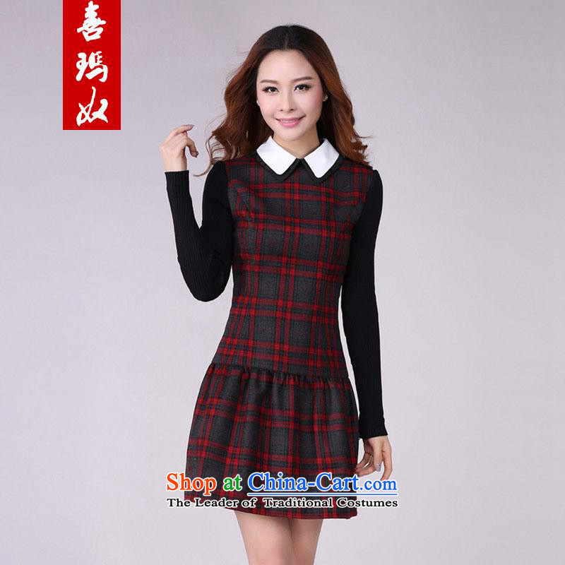 Hee-won version on slave Princess Mei xl girls Dressed Dolls collar latticed long-sleeved dresses Sau San plus extra thick coated apron Y21669 lint-free red cell lint-free - belt燼round 922.747 2XL_130