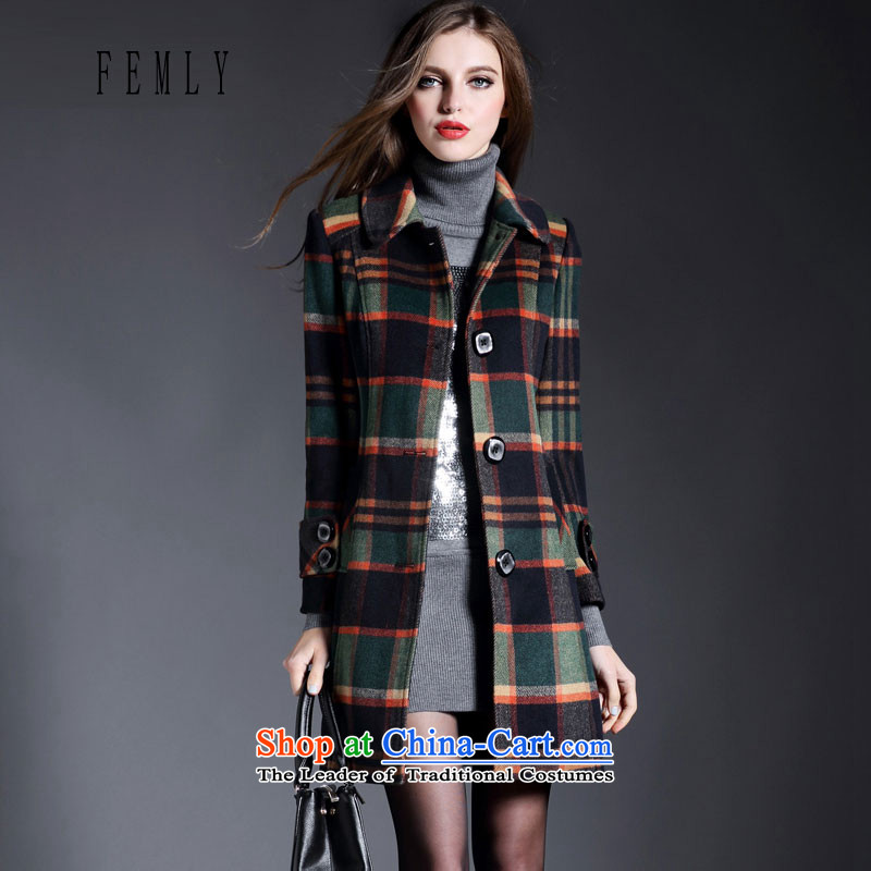 The Law of Cayman Lin 2015 FEMLY autumn and winter load new a wool coat children in long hair? jacket Sau San 5224 Green M