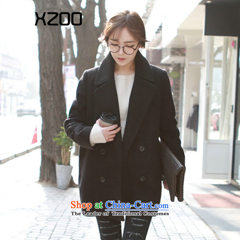 Xzoo2015 winter clothing new Korean double-jacket coat? female gross 8308-1 8308-1 Black燤