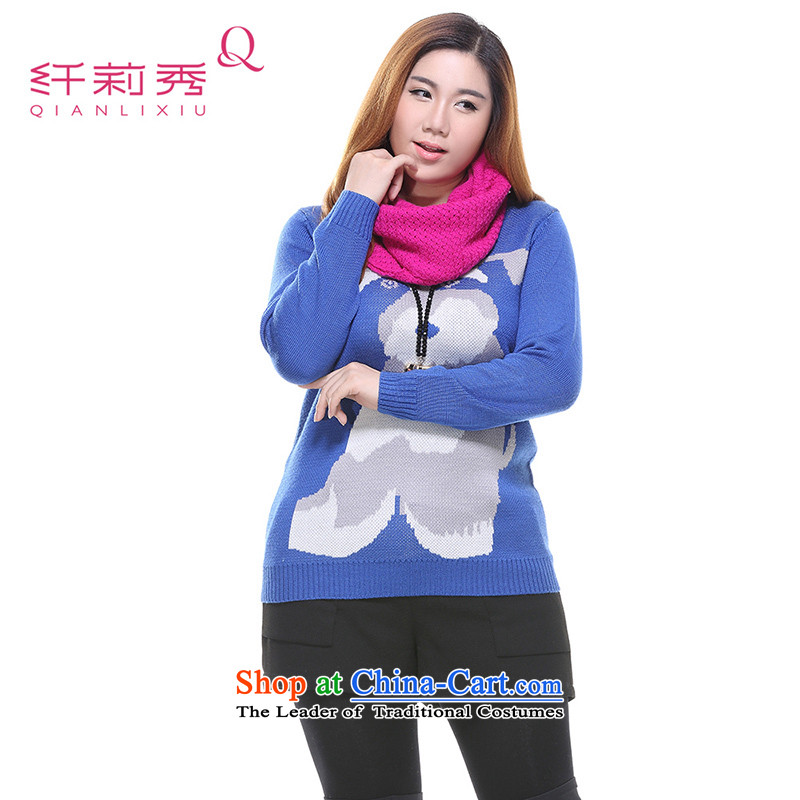 The former Yugoslavia Li Sau 2014 autumn and winter new larger women in Long Neck Knitted Shirt Q7083 hedging blueXL