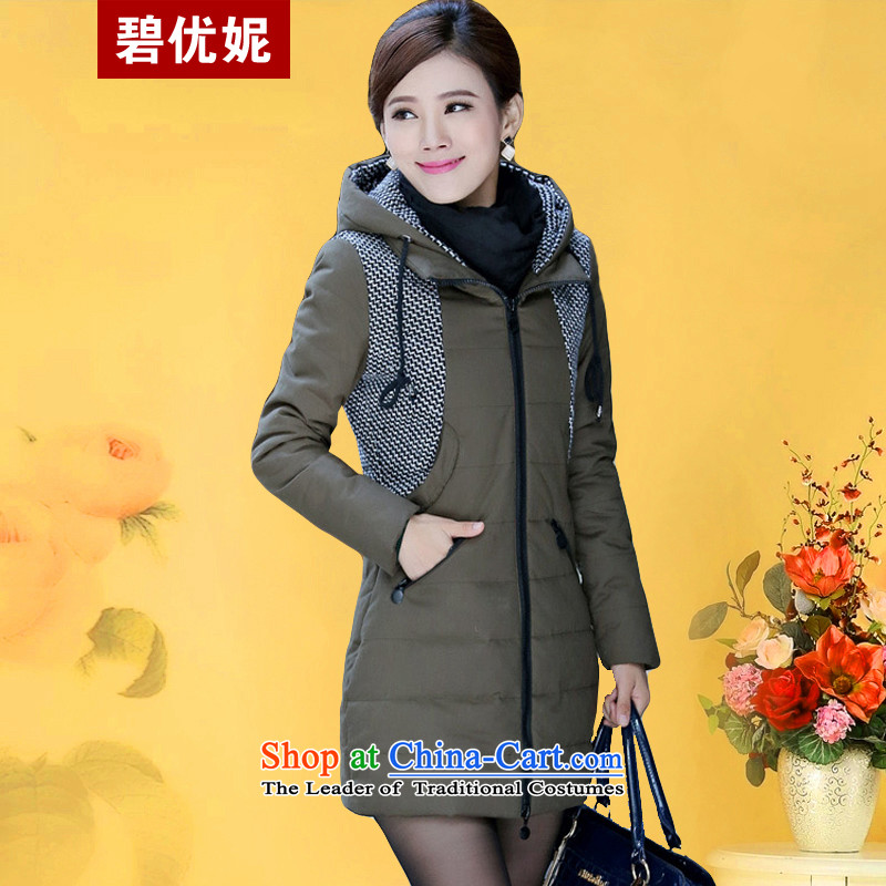 Optimize Connie autumn and winter Pik-load the new Korean robe to Sau San xl female thick cotton jacket, thickening mm cotton coat girl in long BW09209 Army Green�L recommendations 140-150catty