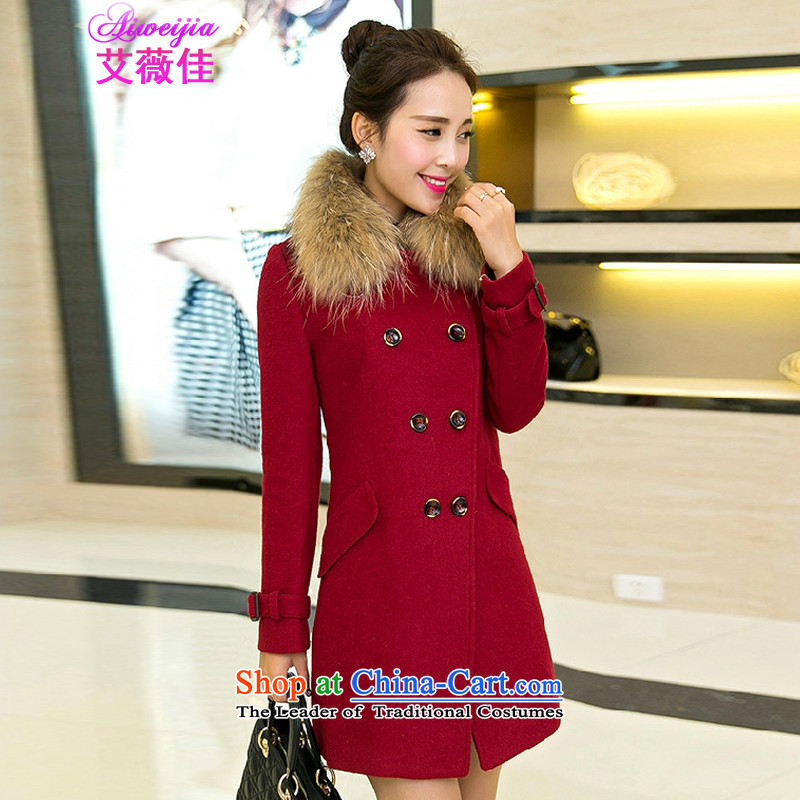 Ms Audrey EU HIV better 2015 Fall_Winter Collections of Korean version of Sau San over the medium to longer term for women?? jacket coat, gross 80489 RED燤