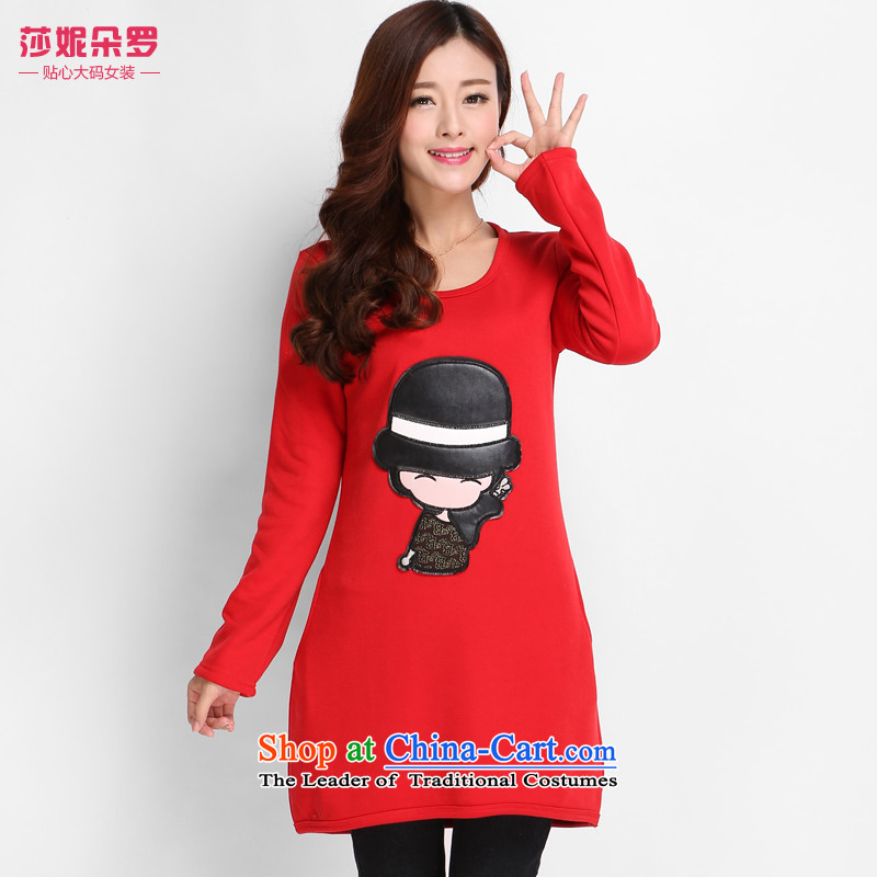 Luo Shani flower code women winter clothing to wear the xl 200 catties video thin shirt thick plus lint-free thick mm long-sleeved T-shirt 8001 Red聽4XL